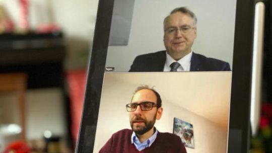 93. Kreisparteitag der CDU Bochum: Tagungspräsidium (Christian Haardt) und der designierte neue Vorsitzende (Fabian Schütz)