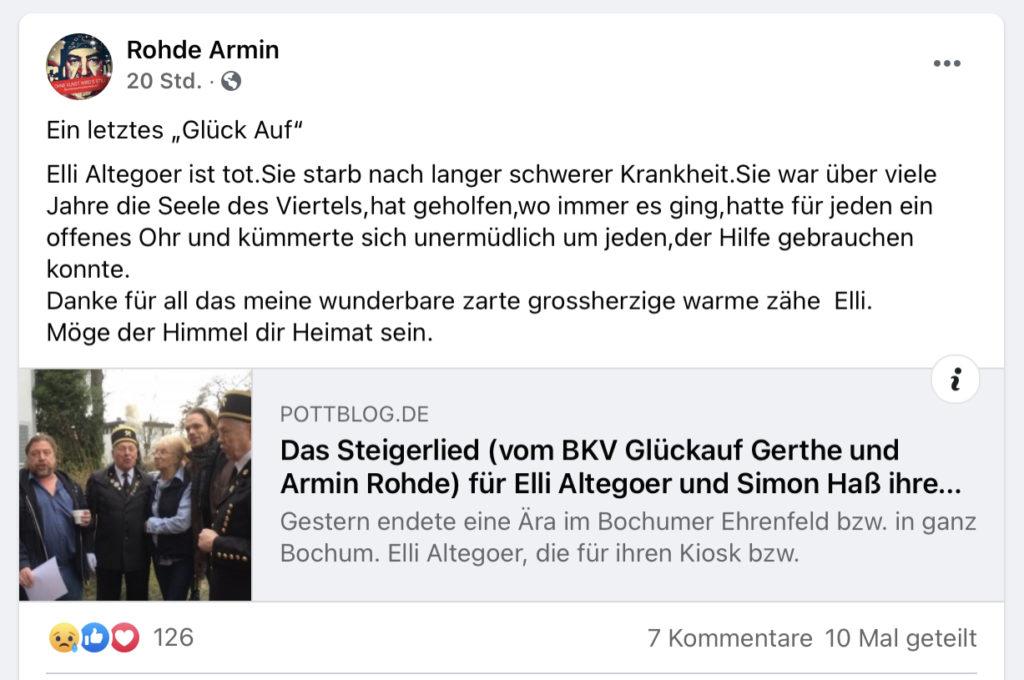 Facebook-Beitrag von Armin Rohde zum Tod von Elli Altegoer