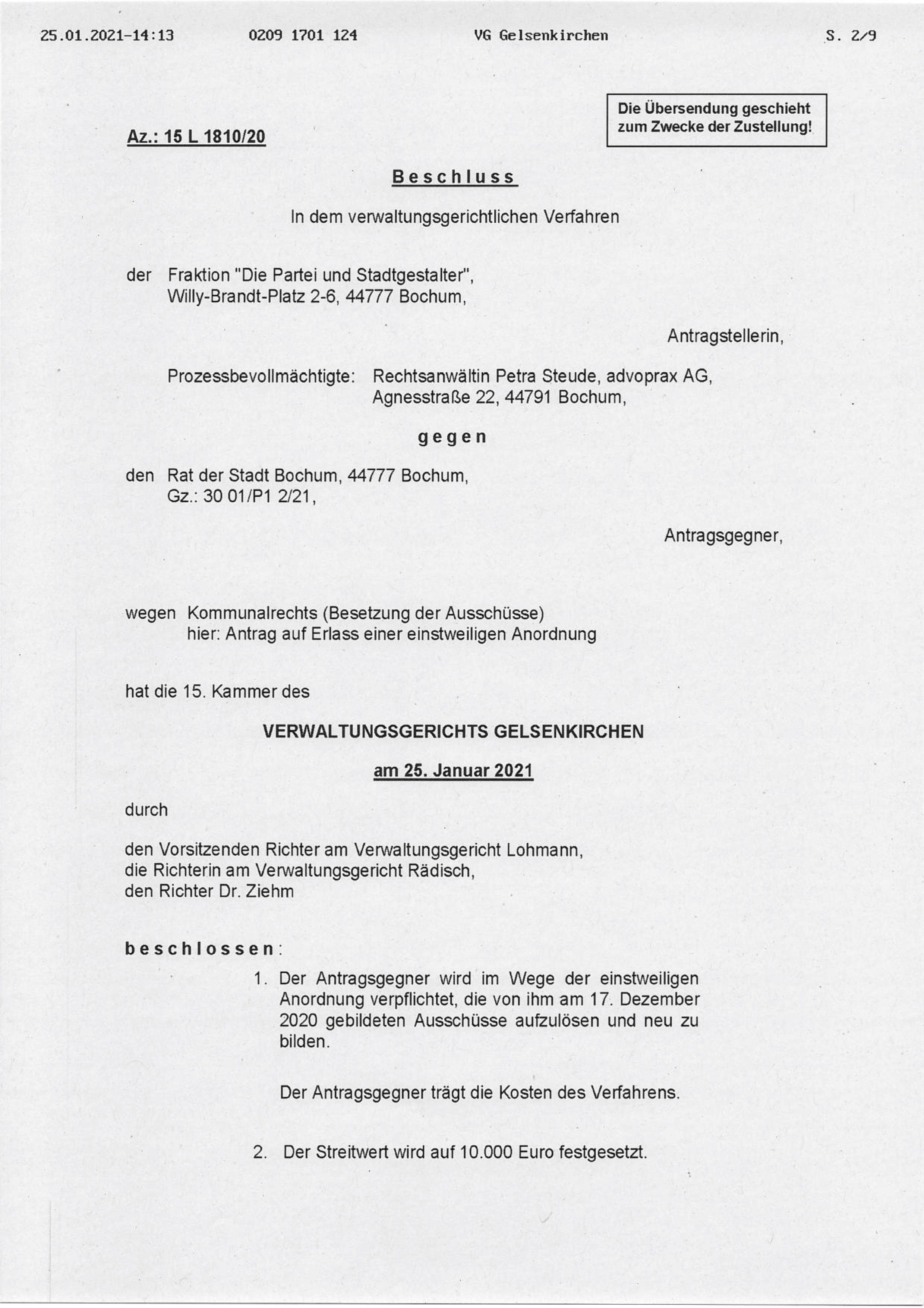 """Beschluss (VG Gelsenkirchen 25.01.2021) in der Sache Fraktion """"Die Partei und Stadtgestalter"""" gegen den Rat der Stadt Bochum, hier: Seite 1/8 (bzw. 2/9)"""