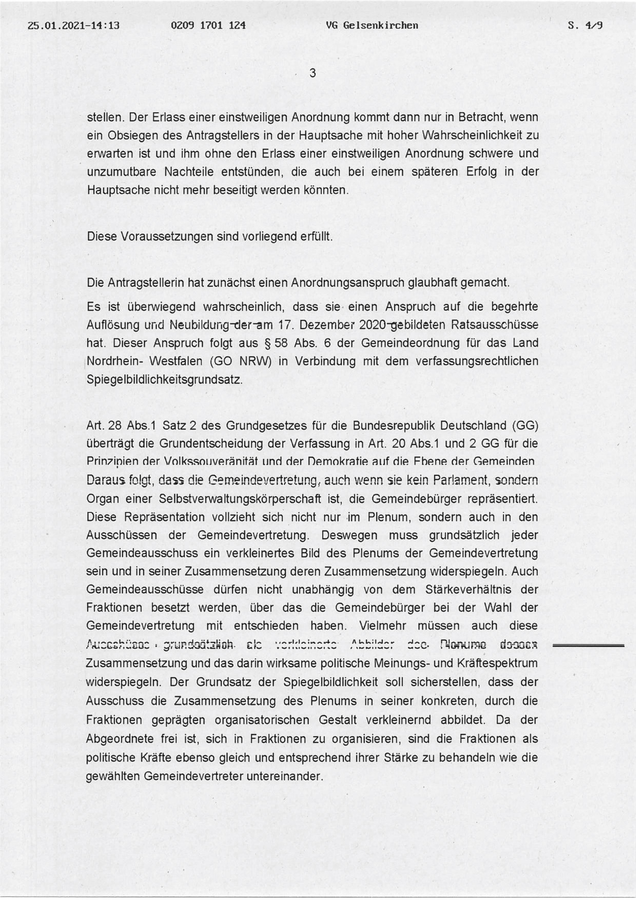 """Beschluss (VG Gelsenkirchen 25.01.2021) in der Sache Fraktion """"Die Partei und Stadtgestalter"""" gegen den Rat der Stadt Bochum, hier: Seite 3/8 (bzw. 4/9)"""
