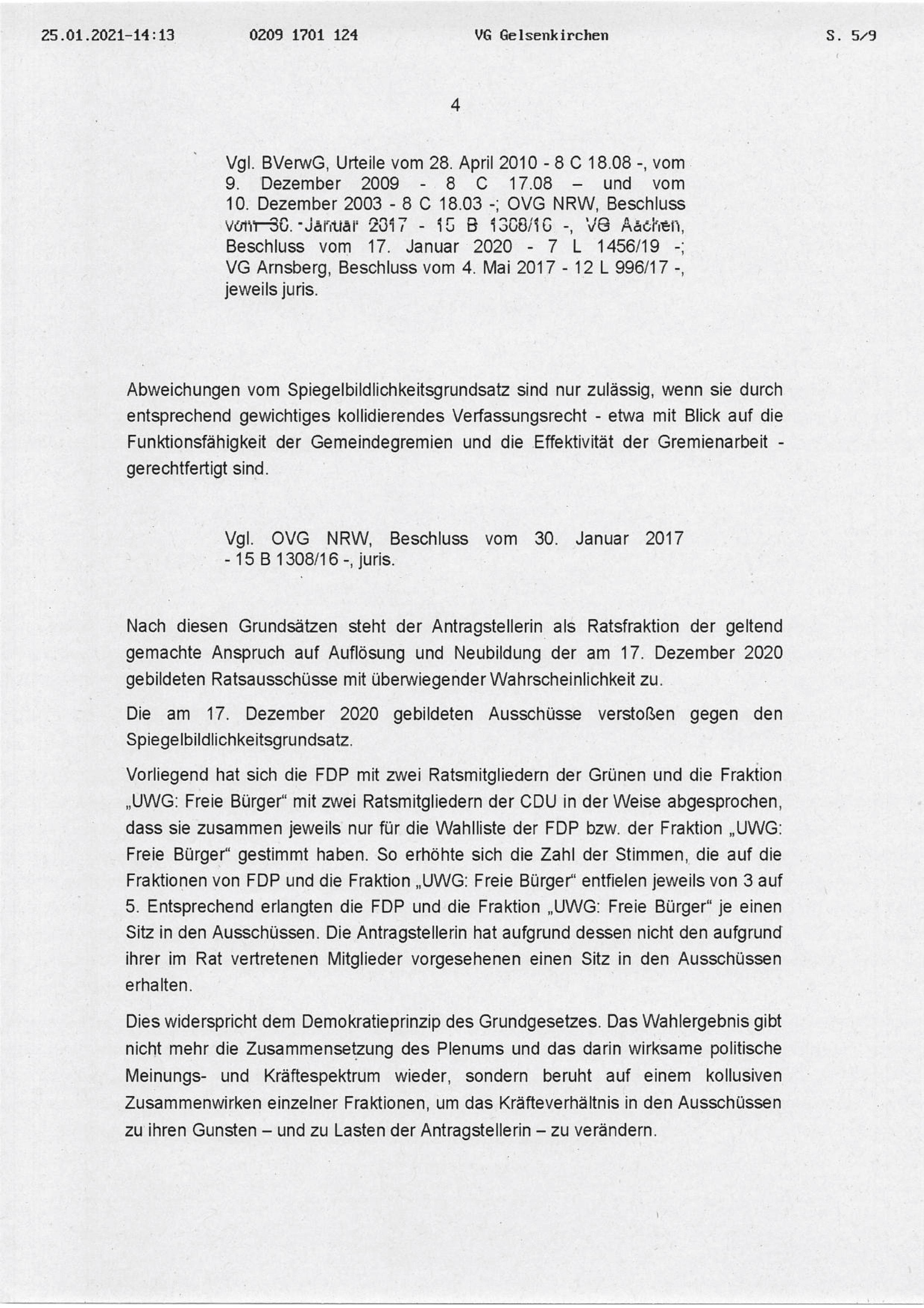 """Beschluss (VG Gelsenkirchen 25.01.2021) in der Sache Fraktion """"Die Partei und Stadtgestalter"""" gegen den Rat der Stadt Bochum, hier: Seite 4/8 (bzw. 5/9)"""