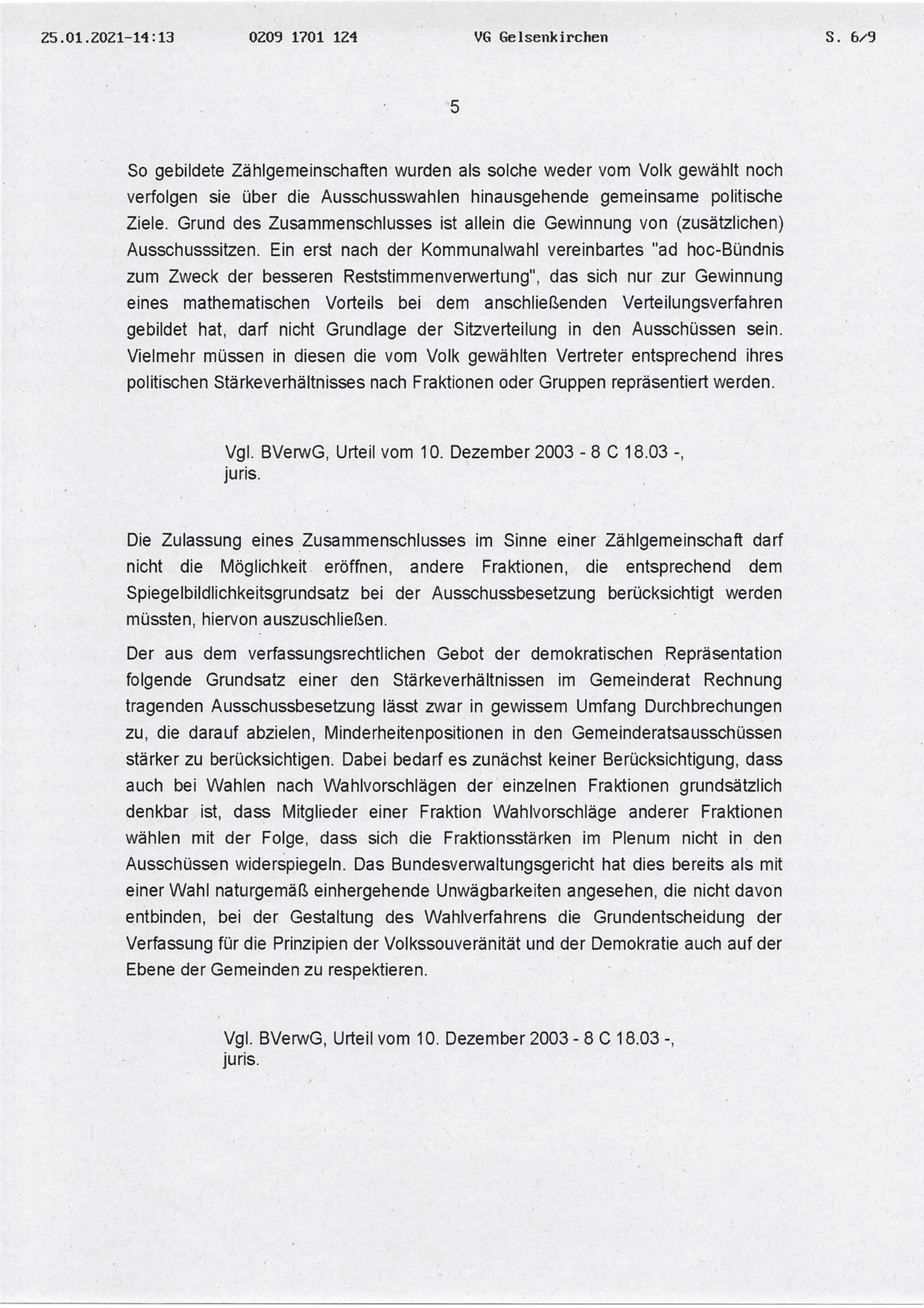 """Beschluss (VG Gelsenkirchen 25.01.2021) in der Sache Fraktion """"Die Partei und Stadtgestalter"""" gegen den Rat der Stadt Bochum, hier: Seite 5/8 (bzw. 6/9)"""