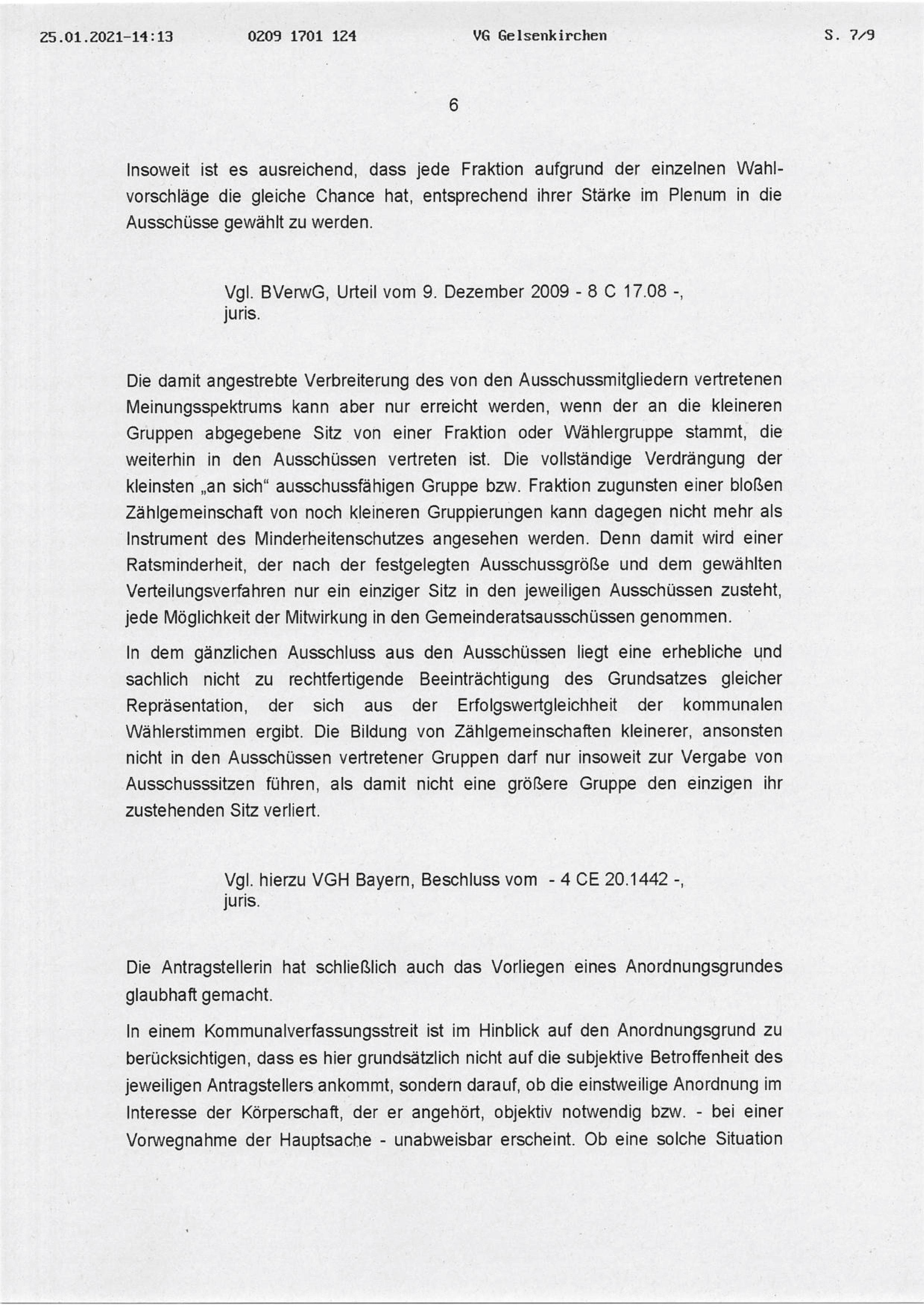 """Beschluss (VG Gelsenkirchen 25.01.2021) in der Sache Fraktion """"Die Partei und Stadtgestalter"""" gegen den Rat der Stadt Bochum, hier: Seite 6/8 (bzw. 7/9)"""
