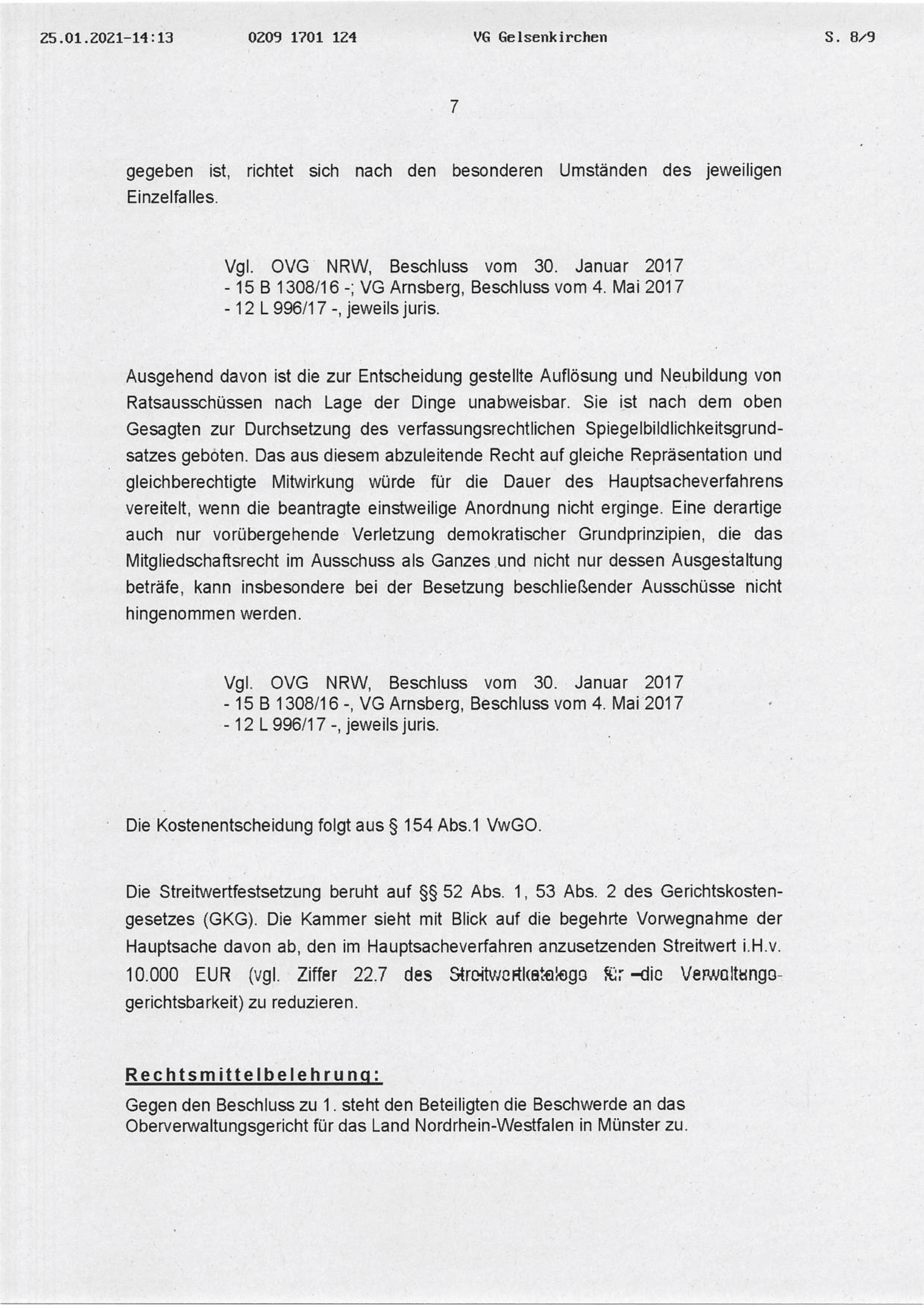"""Beschluss (VG Gelsenkirchen 25.01.2021) in der Sache Fraktion """"Die Partei und Stadtgestalter"""" gegen den Rat der Stadt Bochum, hier: Seite 7/8 (bzw. 8/9)"""
