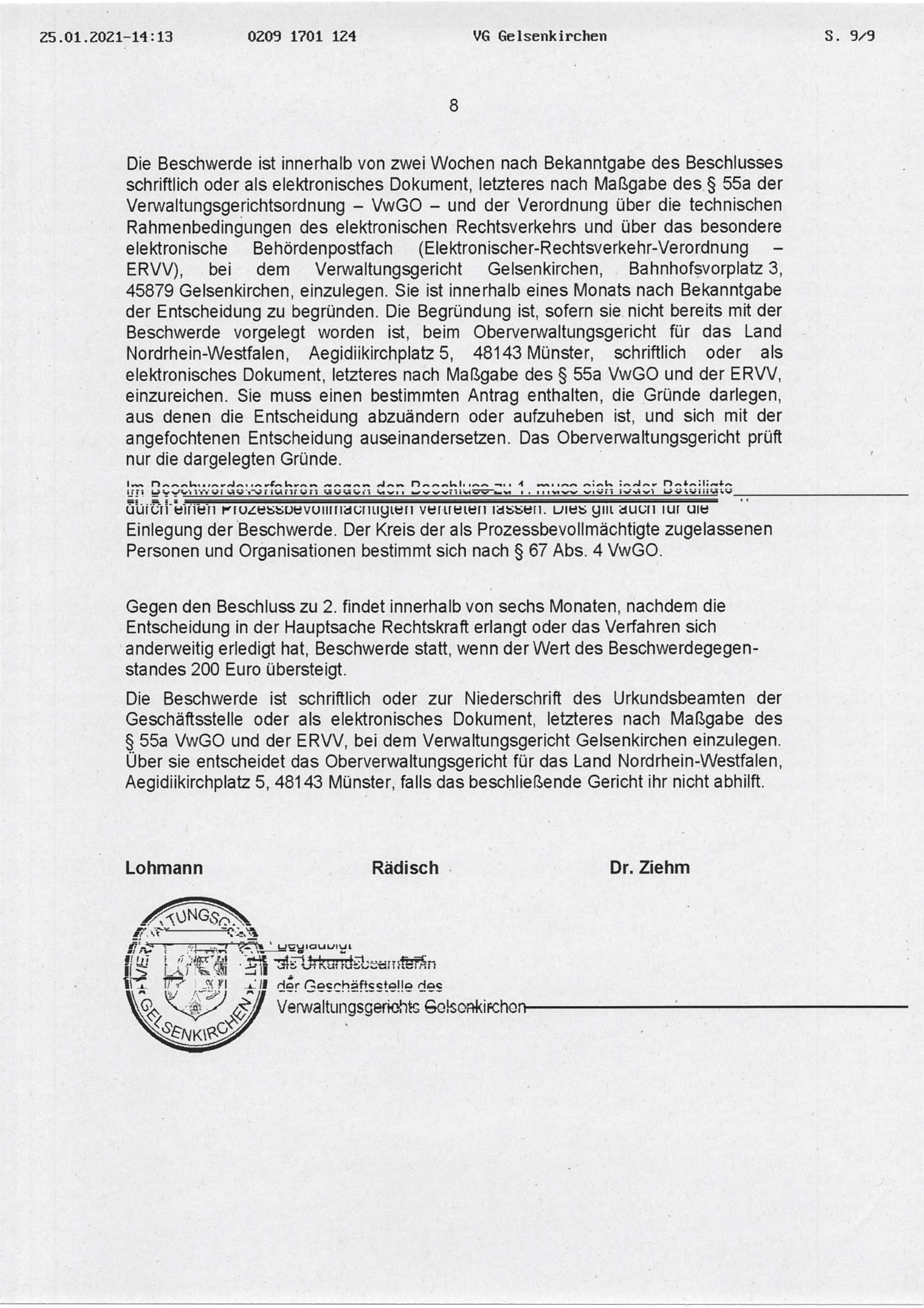 """Beschluss (VG Gelsenkirchen 25.01.2021) in der Sache Fraktion """"Die Partei und Stadtgestalter"""" gegen den Rat der Stadt Bochum, hier: Seite 8/8 (bzw. 9/9)"""