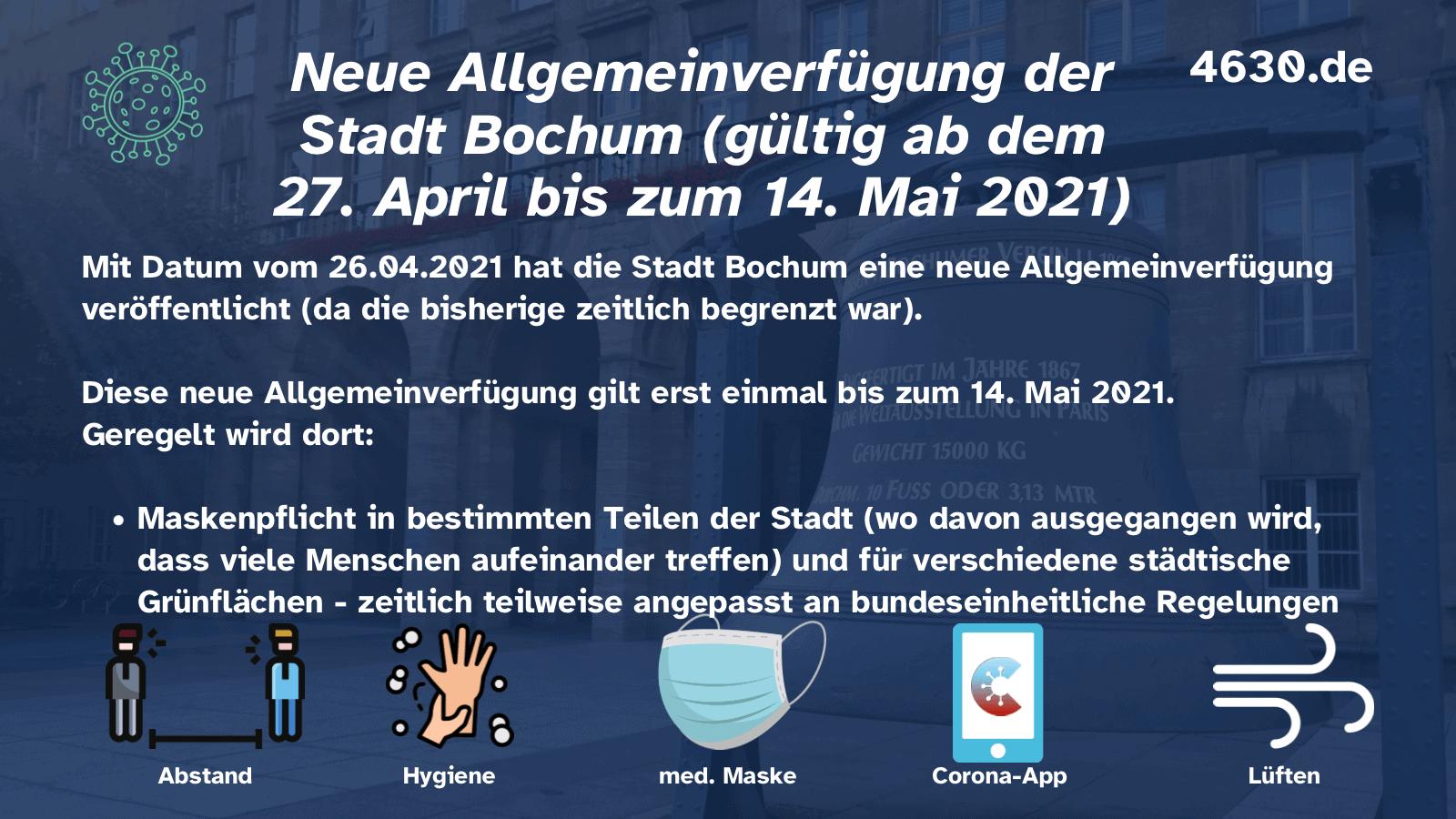 Neue Allgemeinverfügung der Stadt Bochum (gültig ab dem 27. April bis zum 14. Mai 2021)