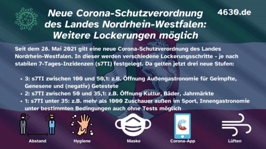 Neue Corona-Schutzverordnung des Landes Nordrhein-Westfalen (ab 28. Mai 2021): Weitere Lockerungen möglich