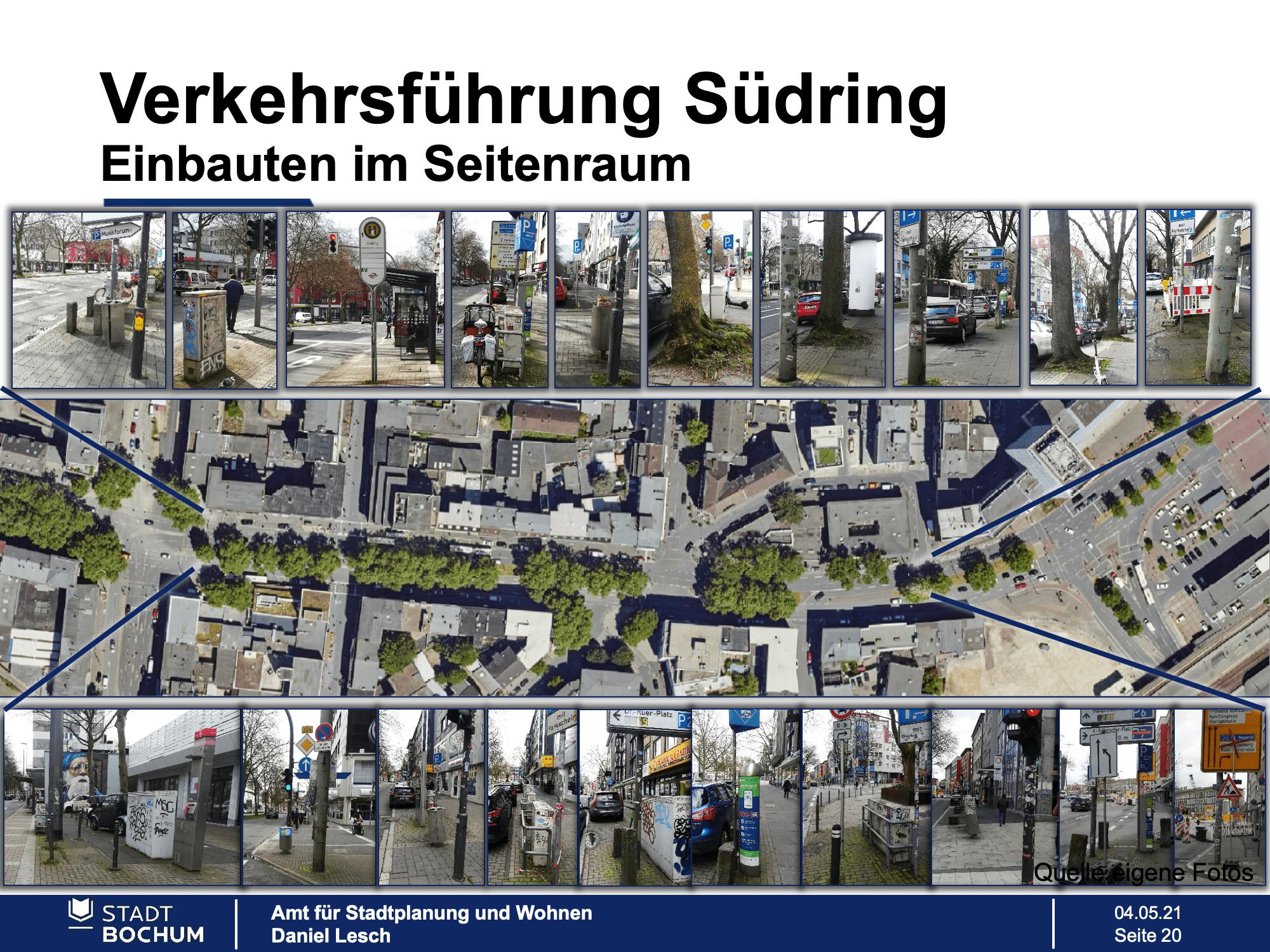Verkehrsführung Südring: Einbauten im Seitenraum