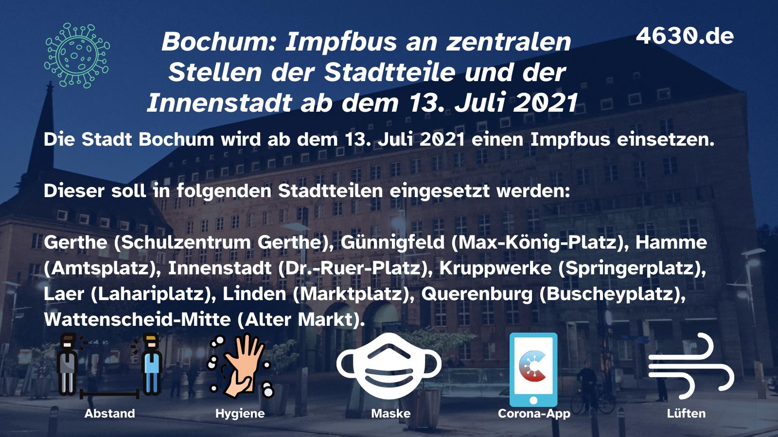 Bochum: Impfbus an zentralen Stellen der Stadtteile und der Innenstadt ab dem 13. Juli 2021