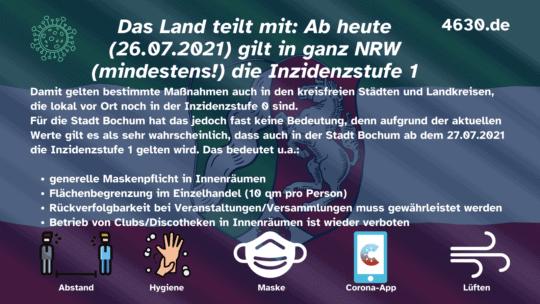 Ab 26.07.2021: (mindestens) Inzidenzstufe 1 in ganz Nordrhein-Westfalen (NRW)