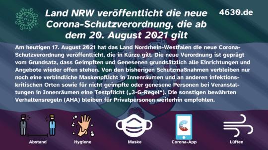 Land NRW veröffentlicht die neue Corona-Schutzverordnung, die ab dem 20. August 2021 gilt