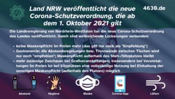 Land NRW veröffentlicht die neue Corona-Schutzverordnung, die ab dem 1. Oktober 2021 gilt