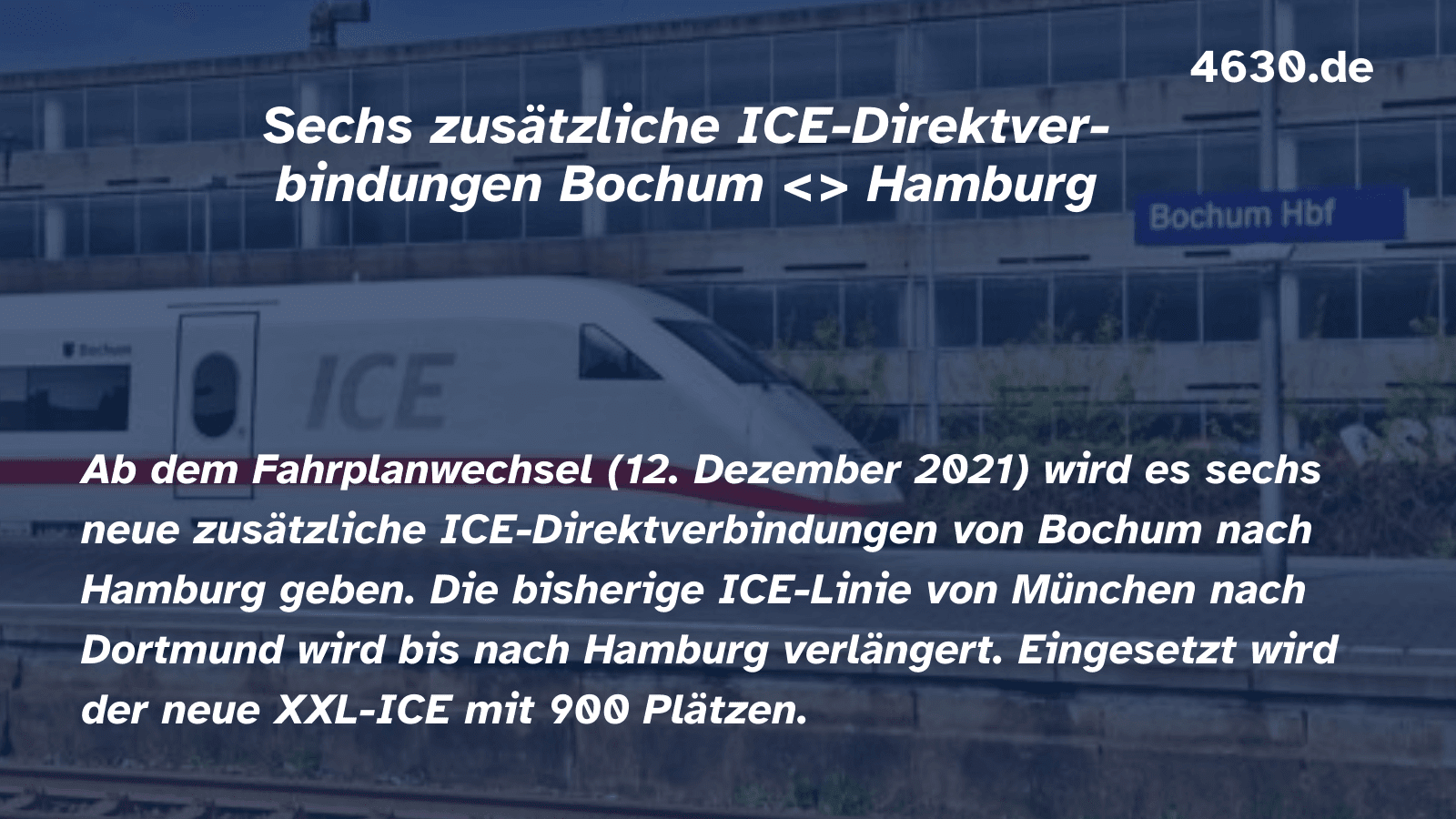 Sechs zusätzliche ICE-Direktverbindungen zwischen Bochum und Hamburg